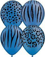 10 pc Neon Blue Safari Animal Print Latex Balloons Happy Birthday Party Jungle