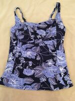 Lands End 12 Tankini Swimsuit Top Womens Swim Blue Floral