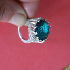 13 Gr. Size N 1 2 And Q Beautiful Big Silver Ring With Faceted Tourmaline Gem
