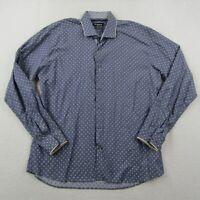 Maceoo Button Up Shirt Adult XL Size 5 Men Blue White Polka Dot Flip Cuff Party