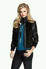 ♡♡ GUESS BY MARCIANO REEVES FAUX-FUR BOMBER MOTORCYCLE  JACKET ♡♡