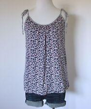 GAP Floral Ruch Scoop Neck Tie Shoulder Shift Knit Cami Tank Top Shirt Blouse S