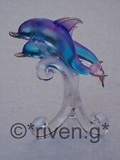 DOLPHINS Figurine@Glass UNIQUE LARGE PREMIUM MARINE MAMMAL Gift@CUTE Crystals