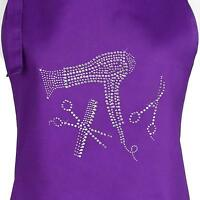 Purple Hair Stylist Salon Apron with Rhinestone Design, (Purple Tools)