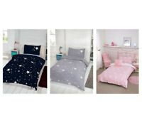Glow in the Dark Single Duvet Set Reversible Kids Bedroom - Pink, Blue or Grey
