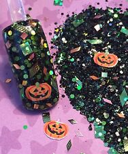 glitter mix acrylic gel nail Art  PUMPKIN DASH  Halloween Mix