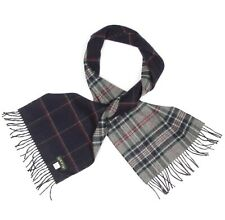 ORVIS 100% Cashmere Scarf Double-sided Gray Blue Red Plaid Neck Scarve - 533