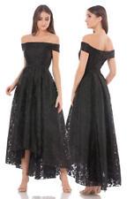JS Collections Off-Shoulder Lace Hi-Low Gown, Black, 8