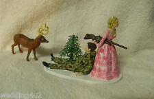 Wedding Reception Camo Bride & Groom Deer Hunter Hunting Cake Topper Redneck