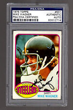1976 Topps Football #501 Mike Wagner Autograph Card-PSA/DNA-Steelers Hall Fame