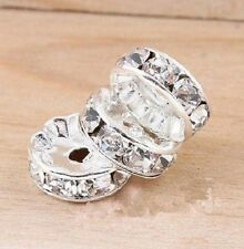 50pcs Crystal Rhinestone Round Spacer Beads DIY Basketball Wives Earrings 10MM