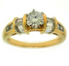 0.98ct ROUND & BAGUETTE ANNIVERSARY ENGAGEMENT 14k GOLD