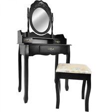 Barock Schminktisch mit verziertem Spiegel und Hocker, Spiegeltisch, in Schwarz