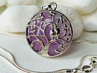 AMETHYST Stone Tree of Life Bead Owl pendant Long Snake Silver Chain necklace UK