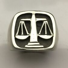 MJG STERLING SILVER SCALES OF JUSTICE RING. HEAVY. LAWYER. PARALEGAL. SIZE 10