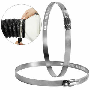 """2pcs 4"""" Stainless Steel Hose Clips Duct Clamps Adjustable Worm Drive Hose Clamp"""