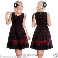 RKP24 Hell Bunny Adare Red Gothic 50's Rockabilly Swing Haunted Halloween Dress