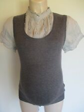 NEXT MATERNITY GREY FINE KNIT JUMPER & BLOUSE IN ONE TOP SIZE 12