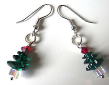 HANDMADE SWAROVSKI CHRISTMAS TREE EARRINGS - WITH GIFT POUCH - FREE FAST SHIP