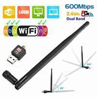 USB WiFi Dongle Adapter 600Mbps Wireless Network For Laptop Desktop Antenna