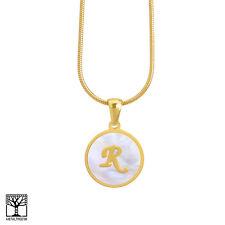 234c6c0528fb Mujer Acero Inoxidable en Oro Inicial R Carta Medallón 16