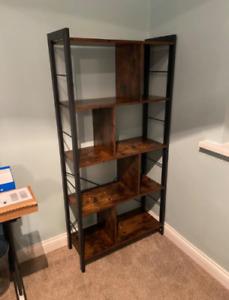 Vintage Industrial Bookcase Rustic Storage Cabinet Tall Shelf Metal Display Unit