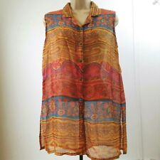 Mahudi International Womens Large Sheer 100% Cotton Floral Sleeveless Shirt B4