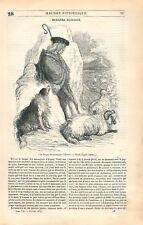 Berger avec Chien Bélier Moutons Montagne d'Ecosse UK GRAVURE OLD PRINT 1839