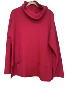 Margaret Winters Fushia Cotton Sweater Cotton Waffle Weave Size XL New Orig. 140