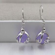 Jade Earrings Woman's Round Flower Drop Earrings New Gift 18k Gp Alloy & Purple