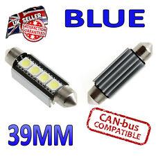 2 x 39mm Festone LED Blu Canbus Targa Interni 4 SMD lampadine da 239