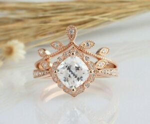 1.95 Tcw Cushion Cut Tapered Shank Halo Engagement Wedding Ring Set in Rose gold