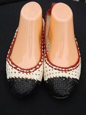 Patricia Green Margo Tri Color Woven Leather Flats Size 9 Black White Red