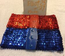 1970S Disco Era Red Or Blue Elastic Sequin Ladies Belt
