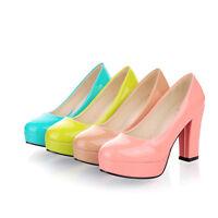 Womens Ladies Block High Heel Slip on Pumps Court Shoes UK Size 1.5--8 C145
