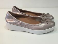 Ladies FITFLOP Metallic Bronze Leather Platform Ballerinas Shoes Size 3 NEW