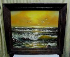 Large Vintage Signed Sandler Sunset Ocean Beach Seascape Oil Painting 30