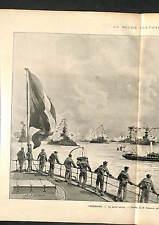 Marine Nationale France Cherbourg Marin Flotte Nicholas II Russia GRAVURE 1896
