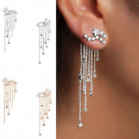 1Pair Long Tassel Drop Rhinestone Dangle Earring Star Shape Crystal Ear Stud