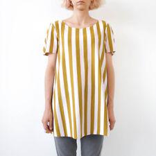 HOF115: COS Top bluse baumwolle streifen / A-line cotton top striped raw edge S
