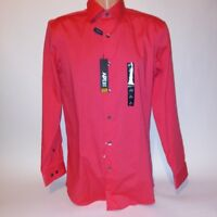 Apt 9 Mens Dress Shirt Button Down Coral Orange Slim Fit Long Sleeve