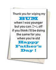 Personalised Rude Swearing Funny Fathers Dad Day Card WIPING MY BUM