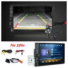 1Din 7in Bluetooth Car Stereo Radio AUX USB FM MP5 Player Head Unit +Rear Camera