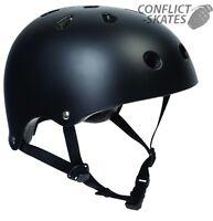 "SFR ""Essentials"" Helmet MATTE BLACK Skateboard Scooter Roller Derby xxs s/m l/xl"