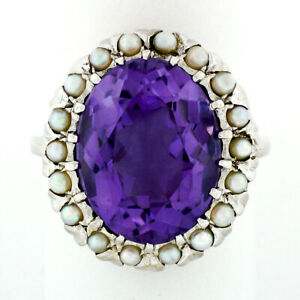 Vintage 14k White Gold Large 10.28ct Oval Amethyst Solitaire Ring w/ Pearl Halo