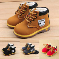 Toddler Baby Kids Boy Girl PU Leather Snow Boots Fur Lined Winter Warm Shoes UK