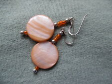 DYED MOTHER OF PEARL SHELL EARRINGS, SILVER (925) HOOK FITTING