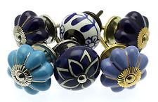 6 Blue & White Ceramic Cupboard Knobs Drawer Knobs Kitchen Knobs Cabinet (MG-02)