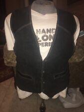 Easy Riders Black Leather Suede Bikers Vintage Lined Vest Sz Large Women's