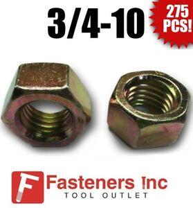 (Qty 275) 3/4-10 Grade 8 Finish Hex Nuts Yellow Zinc Plated Hardened Bulk Box